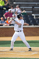 Nick Bisplinghoff (39) of the Wake Forest Demon Deacons at bat against the Miami Hurricanes at Wake Forest Baseball Park on March 21, 2015 in Winston-Salem, North Carolina.  The Hurricanes defeated the Demon Deacons 12-7.  (Brian Westerholt/Four Seam Images)