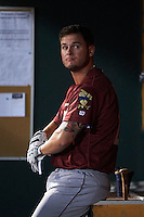 Frisco RoughRiders first baseman Trever Adams (29) in the dugout during a game against the Springfield Cardinals on June 3, 2015 at Hammons Field in Springfield, Missouri.  Springfield defeated Frisco 7-2.  (Mike Janes/Four Seam Images)
