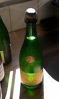 A bottle of sparkling RPF Reserva Personal de la Familia Brut Nature 2004 Blanc de Blanc, backlit in silhouette Bodega Pisano Winery, Progreso, Uruguay, South America