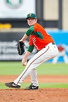 Greensboro Grasshoppers relief pitcher Matt Milroy (40) in action against the Augusta GreenJackets at NewBridge Bank Park on August 11, 2013 in Greensboro, North Carolina.  The GreenJackets defeated the Grasshoppers 6-5 in game one of a double-header.  (Brian Westerholt/Four Seam Images)