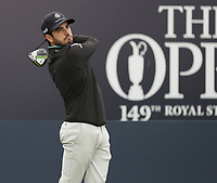 13th July 2021; The Royal St. George's Golf Club, Sandwich, Kent, England; The 149th Open Golf Championship, practice day; Abraham Ancer (MEX) hits his tee shot on the 1st hole