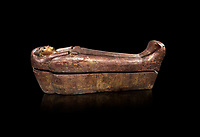 Acient Egyptian sacophagus of Kha -  inner coffin from  tomb of Kha, Theban Tomb 8 , mid-18th dynasty (1550 to 1292 BC), Turin Egyptian Museum.  black background