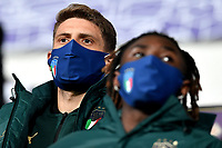 Domenico Berardi of Italy, wearing a mask, attends from the tribune the friendly football match between Italy and Estonia at Artemio Franchi Stadium in Firenze (Italy), November, 11th 2020. Photo Andrea Staccioli/ Insidefoto