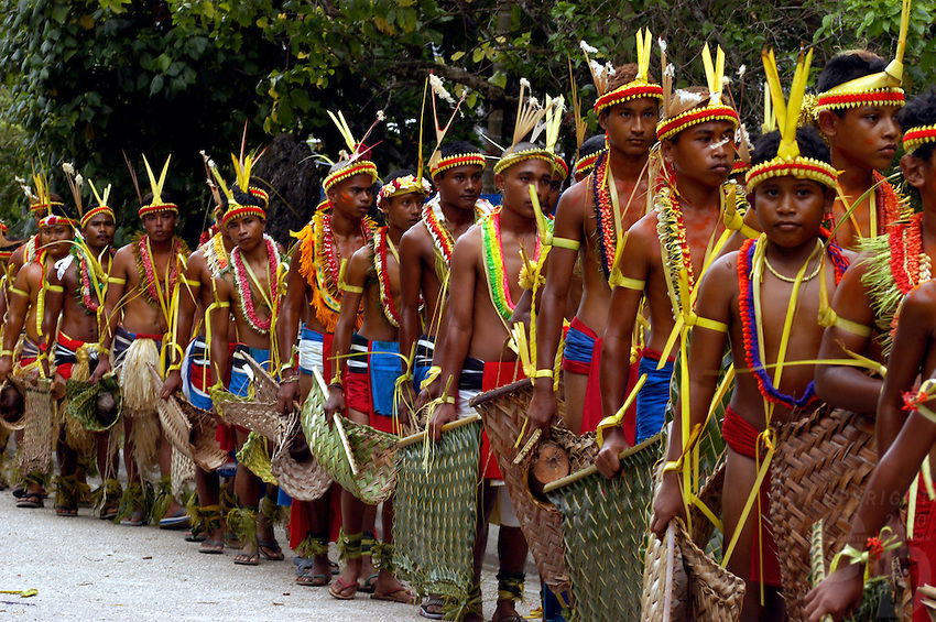 The very traditional Yapese during their festivities, after the traditional Yap day, they have to perform in front of different villages Yap Micronesia