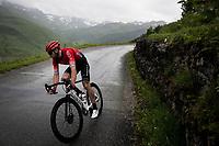 Daniel McLay (GBR/Arkéa Samsic) descending the Col du Pré (HC/1748m) towards the Barrage de Roselend in, yet again, grim conditions.<br /> <br /> Stage 9 from Cluses to Tignes (145km)<br /> 108th Tour de France 2021 (2.UWT)<br /> <br /> ©kramon