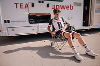 Niklas Märkl (DEU/Development Team Sunweb) was involved in the late sprint crash and is now awaiting the ambulance to take him to hospital for a check-up<br /> <br /> 98th Brussels Cycling Classic 2018<br /> One Day Race:  Brussels > Brussels (201km)