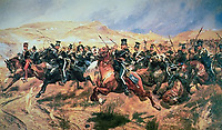 BNPS.co.uk (01202 558833)<br /> Pic: DNW/BNPS<br /> <br /> Pictured: The Battle of Balaklava on October 25, 1854.<br />  <br /> The medals of two men who took place in the doomed Charge of the Light Brigade are expected to sell for over £10,000.<br /> <br /> Private James Gusterson and Private John Brown were among the 600 men who wrote into the 'Valley of Death' in the near-suicidal action immortalised in Alfred Tennyson's famous poem.<br /> <br /> Londoner Pte Gusterson, of the 11th Hussars, was an unlikely participant as he was the camp cook but he volunteered for action at the Battle of Balaklava on October 25, 1854.<br /> <br /> However, he survived the battle, unlike Pte Brown, from Antrim, Ireland, of the 8th Hussars, who was severely wounded and died two months later in a Turkish hospital.<br /> <br /> Pte Brown's Crimea Medal is valued at £7,000, while Pte Gusterson's medal, with Alma, Balaklava and Sebastopol clasps, could go for £3,600 with London-based auctioneers Dix Noonan Webb.<br /> <br /> Private James Gusterson and Private John Brown were among the 600 men who wrote into the 'Valley of Death' in the near-suicidal action immortalised in Alfred Tennyson's famous poem.<br /> <br /> Londoner Pte Gusterson, of the 11th Hussars, was an unlikely participant as he was the camp cook but he volunteered for action at the Battle of Balaklava on October 25, 1854.<br /> <br /> However, he survived the battle, unlike Pte Brown, from Antrim, Ireland, of the 8th Hussars, who was severely wounded and died two months later in a Turkish hospital.<br /> <br /> Pte Brown's Crimea Medal is valued at £7,000, while Pte Gusterson's medal, with Alma, Balaklava and Sebastopol clasps, could go for £3,600 with London-based auctioneers Dix Noonan Webb.