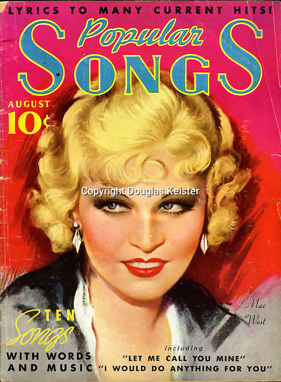 Popular Songs magazine from August 1935 featured bawdy actress and songstress Mae West (1892–1980) on the cover. West started acting at age five, was doing burlesque under the name the Baby Vamp at age fourteen, and then starred in a play titled Sex that she also wrote, produced, and directed when she was an adult. The play was shut down by the police in 1926  and West was jailed on obscenity charges, but West moved to Hollywood and enjoyed a long, adventurous career. She started out life as a brunette, but spent the rest of her life proving that blondes have more fun.