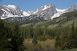 Front Range, peaks, willow wetlands, spring, Glaceir Creek, trees, forest, mountains, landscape, scenic, nature, outdoors, Rocky Mountain National Park, Colorado, Rocky Mountains, USA