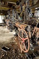 derelict looms at Gilbert & Bennett wire mill, Georgetown, CT