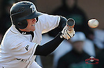 Infielder Dylan Woods (3) of the University of South Carolina Upstate Spartans bunts in a game against the UNC Asheville Bulldogs on Tuesday, March, 25, 2014, at Cleveland S. Harley Park in Spartanburg, South Carolina. (Tom Priddy/Four Seam Images)