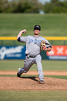 Peoria Javelinas relief pitcher Blake Rogers (55), of the San Diego Padres organization, delivers a pitch during an Arizona Fall League game against the Mesa Solar Sox at Sloan Park on October 24, 2018 in Mesa, Arizona. Mesa defeated Peoria 4-3. (Zachary Lucy/Four Seam Images)
