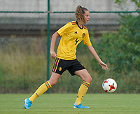 20200820 - TUBIZE , Belgium : Belgium's Enora Matte (4) battle for the ball during a friendly match between Belgian national women's youth soccer team called the Red Flames U17 and Union Saint-Ghislain Tetre , on the 20th of August 2020 in Tubize.  PHOTO: Sportpix.be | SEVIL OKTEM