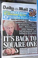 Cambridge, UK - 5 January 2021<br /> Front pages newspaper headlines, Lockdown 3, back to square one, and race to vaccinate vulnerable, the front pages all lead with Boris Johnson's decision to put England into a new lockdown.<br /> <br /> <br /> <br /> <br /> CAP/JOR<br /> ©JOR/Capital Pictures