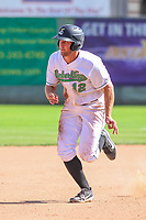 Clinton LumberKings outfielder Keegan McGovern (12) runs to third base during a Midwest League game against the Lansing Lugnuts on July 15, 2018 at Ashford University Field in Clinton, Iowa. Clinton defeated Lansing 6-2. (Brad Krause/Four Seam Images)