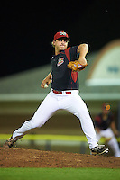 Batavia Muckdogs relief pitcher Mike King (22) during a game against the Mahoning Valley Scrappers on August 18, 2016 at Dwyer Stadium in Batavia, New York.  Batavia defeated Mahoning Valley 2-1 in twelve innings. (Mike Janes/Four Seam Images)