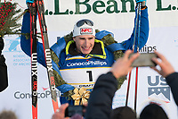 Mens 30K Classic Winner Tyler Kornfield of APU on the podium during the 2018 U.S. National Cross Country Ski Championships at Kincaid Park in Anchorage.