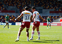 24th April 2021; Brentford Community Stadium, London, England; Gallagher Premiership Rugby, London Irish versus Harlequins; Marcus Smith of Harlequins talking to Joe Marchant of Harlequins