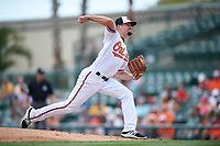 Baltimore Orioles relief pitcher Logan Verrett (41) delivers a pitch during a Spring Training exhibition game against the Dominican Republic on March 7, 2017 at Ed Smith Stadium in Sarasota, Florida.  Baltimore defeated the Dominican Republic 5-4.  (Mike Janes/Four Seam Images)