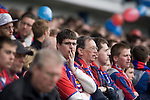 Sheffield Wednesday 2 Crystal Palace 2, 02/05/2010. Hillsborough. Championship. A Crystal Palace fan watches the action nervously at Hillsborough during his team's crucial last-day relegation match against Sheffield Wednesday. The match ended in a 2-2 draw which meant Wednesday were relegated to League 1. Crystal Palace remained in the Championship despite having been deducted 10 points for entering administration during the season. Photo by Colin McPherson.