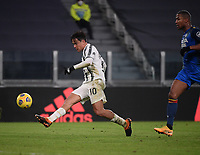 3rd January 2021, Allianz Stadium, Turin Piedmont, Italy; Serie A Football, Juventus versus Udinese; Paulo Dybala L of Juventus shoots and scores during a Serie A match between FC Juventus and Udinese