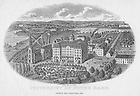 GNDL 6/16:  Engraving of campus with the Basilica of the Sacred Heart and Second Main Building, c1870s..Image from the University of Notre Dame Archives.