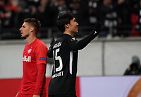Daichi Kamada (Eintracht Frankfurt) jubelt über sein Tor zum 3:0,  sein dritter Treffer, ein Hattrick - 20.02.2020: Eintracht Frankfurt vs. RB Salzburg, UEFA Europa League, Hinspiel Round of 32, Commerzbank Arena DISCLAIMER: DFL regulations prohibit any use of photographs as image sequences and/or quasi-video.