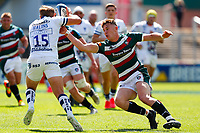 5th June 2021; Mattioli Woods Welford Road Stadium, Leicester, Midlands, England; Gallagher Premiership Rugby, Leicester Tigers versus Bristol Bears; Freddie Steward of Leicester Tigers attempts to tackle Max Malins of Bristol Bears