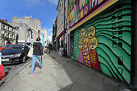 WORDS BY KARL WEST<br /> Pictured: A mural on one of the buildings Friday 30 September 2016<br /> Re: The regeneration of the High Street in Swansea, Wales, UK