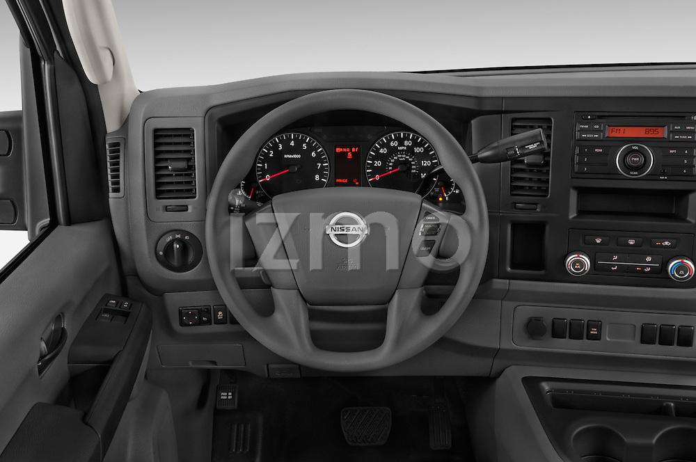 Car pictures of steering wheel view of a 2015 Nissan NV Cargo 2500 Standard Roof S V6 Door Cargo Van Steering Wheel