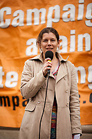 """Claire James (Secretary of Campaign Against Climate Change). <br /> <br /> London, 29/04/2017. Today, """"Campaign Against Climate Change"""" held a demonstration started at Old Palace Yard and ended on Westminster Bridge, where people formed a human chain showing the message: """"Trump & May Climate Disaster"""". The demonstration was in support and solidarity with the People's Climate March in the US (and over 350 other marches taking place across the globe) and to warn the British Prime Minister Theresa May to stop following Donald Trump """"down the path to climate disaster"""".<br />   <br /> For more information please click here: https://www.facebook.com/events/747422225425039/ & (Video) https://www.facebook.com/campaigncc/videos/1300562783385237/ & (Press Release) http://www.campaigncc.org/node/1782"""