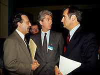 Montreal (Qc) CANADA - File Photo-<br /> Andre Boulerice, PQ MNA,<br /> Gilles Duceppe, <br /> Lucien Bouchard, Leader Bloc Quebecois,<br /> <br /> photo (c)  Images Distribution