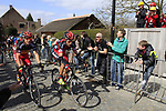 BMC Racing Team's Philippe Gilbert (BEL) and George Hincapie (USA) on the approach to the Koppenberg climb during the 96th edition of The Tour of Flanders 2012, running 256.9km from Bruges to Oudenaarde, Belgium. 1st April 2012. <br /> (Photo by Steven Franzoni/NEWSFILE).
