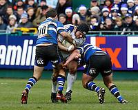 Photo: Richard Lane/Richard Lane Photography. Bath Rugby v Leinster. Heineken Cup. 11/12/2011. Leinster's Mike Ross attacks.