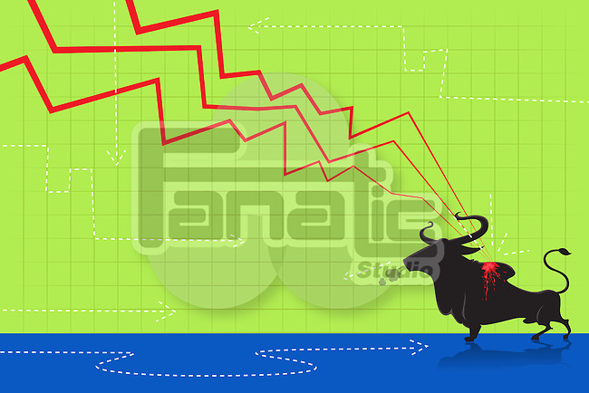 Illustrative image of downward sloping line graph attacking bull representing loss in bull market