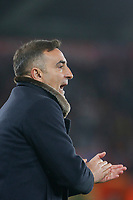 Swansea City manager Carlos Carvalhal spurs on his players during the Premier League match between Swansea City and Southampton at Liberty Stadium, Swansea, Wales, UK. Tuesday 08 May 2018