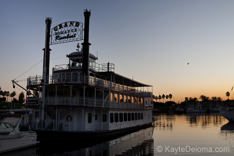 The Grand Romance Riverboat on Rainbow Harbor at Sunset, Long Beach, CA