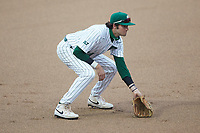 Charlotte 49ers third baseman Austin Knight (14) on defense against the Appalachian State Mountaineers at Atrium Health Ballpark on March 23, 2021 in Kannapolis, North Carolina. (Brian Westerholt/Four Seam Images)
