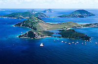 Aerial view of Salt Island showing the anchorage for The Wreck of The Rhone a favorite dive site<br /> British Virgin Islands