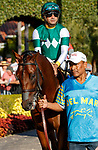 DEL MAR, CA  AUGUST 7:  #3 Pappacap, ridden by Joe Bravo, in the paddock before the Best Pal Stakes (Grade ll) on August 7, 2021 at Del Mar Thoroughbred Club in Del Mar, CA.(Photo by Casey Phillips/Eclipse Sportswire/CSM)