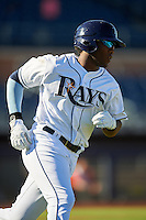 Peoria Javelinas Justin Williams (25), of the Tampa Bay Rays organization, during a game against the Surprise Saguaros on October 12, 2016 at Peoria Stadium in Peoria, Arizona.  The game ended in a 7-7 tie after eleven innings.  (Mike Janes/Four Seam Images)