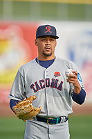Tacoma Rainiers starting pitcher Justus Sheffield (10) before the game against the Salt Lake Bees at Smith's Ballpark on May 27, 2019 in Salt Lake City, Utah. The Bees defeated the Rainiers 5-0. (Stephen Smith/Four Seam Images)