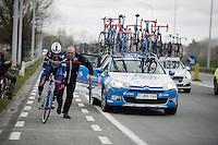Kenny De Haes (BEL/Wanty-Groupe Gobert) getting underway again after a flat tire<br /> <br /> 71st Dwars door Vlaanderen (1.HC)