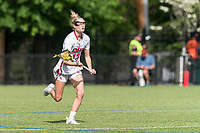NEWTON, MA - MAY 14: Audrey Fantazzia #13 of University of Massachusetts brings the ball forward during NCAA Division I Women's Lacrosse Tournament first round game between University of Massachusetts and Temple University at Newton Campus Lacrosse Field on May 14, 2021 in Newton, Massachusetts.