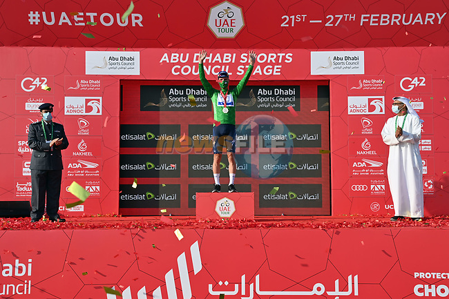 Joao Almeida (POR) Deceuninck-Quick Step takes over the points Green Jersey at the end of Stage 2 of the 2021 UAE Tour running 13km around Al Hudayriyat Island, Abu Dhabi, UAE. 22nd February 2021.   <br /> Picture: LaPresse/Gian Mattia D'Alberto | Cyclefile<br /> <br /> All photos usage must carry mandatory copyright credit (© Cyclefile | LaPresse/Gian Mattia D'Alberto)