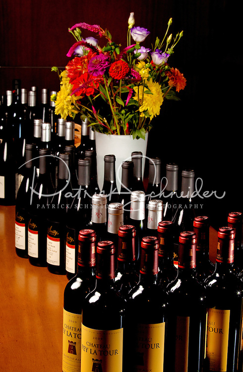 Detail photo of bottles of wine