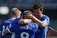 SAN JOSE, CA - AUGUST 8: Javier Lopez #9 of the San Jose Earthquakes celebrates scoring with Chris Wondolowski #8 during a game between Los Angeles FC and San Jose Earthquakes at PayPal Park on August 8, 2021 in San Jose, California.