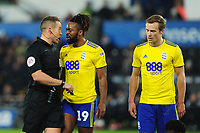 Jacques Maghoma of Birmingham City (centre) is given a yellow card during the Sky Bet Championship match between Swansea City and Birmingham City at the Liberty Stadium in Swansea, Wales, UK. Tuesday 29 January 2019