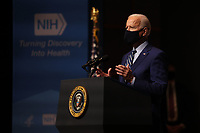 President Joe Biden talks to staff at the National Institutes of Health on Thursday, February 11, 2021 in Bethesda, Maryland. <br /> CAP/MPI/RS<br /> ©RS/MPI/Capital Pictures