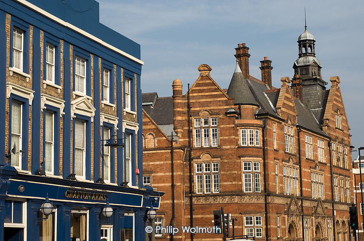 The Grafton Arms pub and Victorian Public Baths in Kentish Town, London.